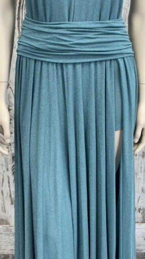 immagine 4 di Abito da donna Artigli plisse lurex lungo scollato e spacco lungo l'abito