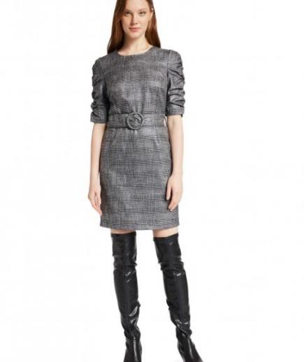 immagine 0 di Abito Tubino Gaudì Fashion Girocollo Fantasia Principe di Galles Maniche arricciate effetto lurex