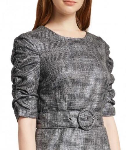immagine 3 di Abito Tubino Gaudì Fashion Girocollo Fantasia Principe di Galles Maniche arricciate effetto lurex