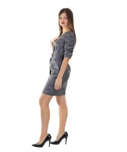 immagine 2 di Abito Tubino Gaudì Fashion Girocollo Fantasia Principe di Galles Maniche arricciate effetto lurex