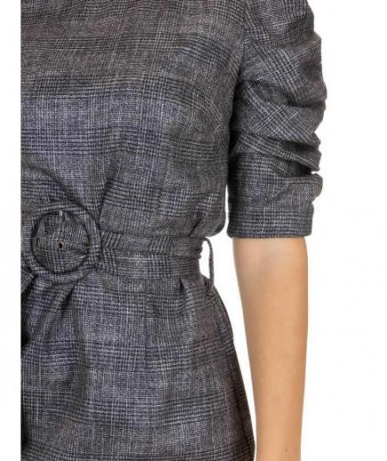 immagine 4 di Abito Tubino Gaudì Fashion Girocollo Fantasia Principe di Galles Maniche arricciate effetto lurex