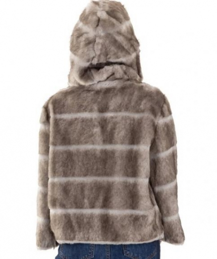 immagine 5 di Giacca da donna in eco pelliccia con manica 3/4 e cappuccio della Gaudì Fashion