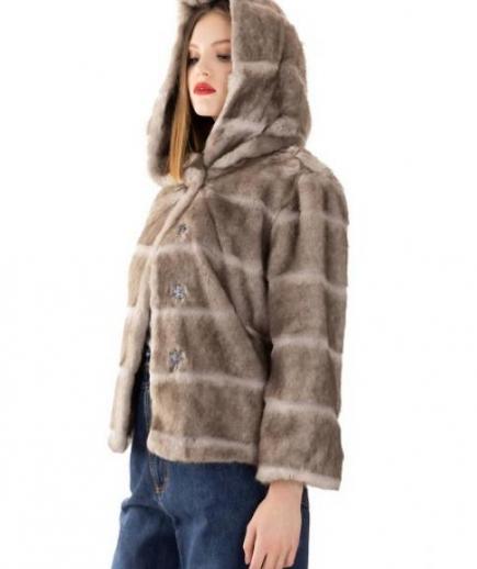 immagine 4 di Giacca da donna in eco pelliccia con manica 3/4 e cappuccio della Gaudì Fashion