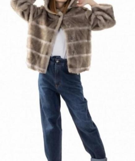 immagine 1 di Giacca da donna in eco pelliccia con manica 3/4 e cappuccio della Gaudì Fashion