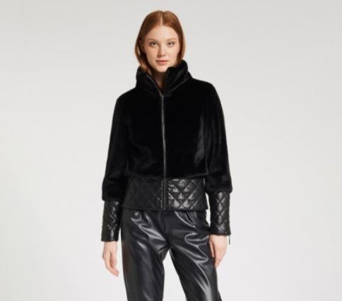 immagine 0 di Giubbino da donna in pelliccia ecologica della gaudì fashion con zip